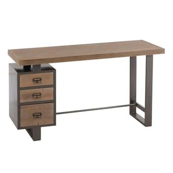 Bureau bois et métal 3 tiroirs 140x50x75 cm ref.30022924