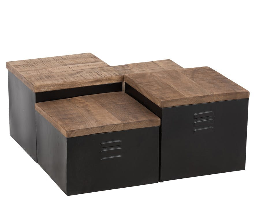 Lot de 4 tables basses salon cube bois métal ref.30022927
