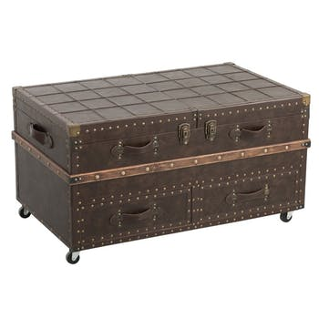 Table basse coffre marron 100x60x53 cm ref.30022928