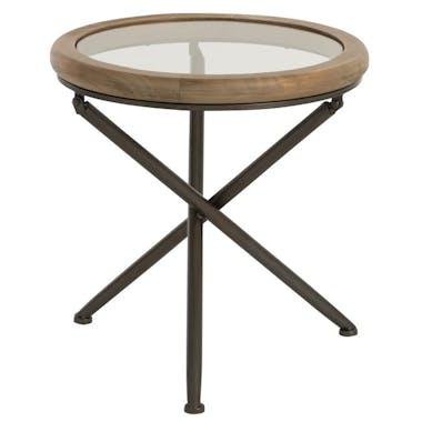 Table ronde en verre et bois marron petit modèle 50x50x52 cm ref.30022930