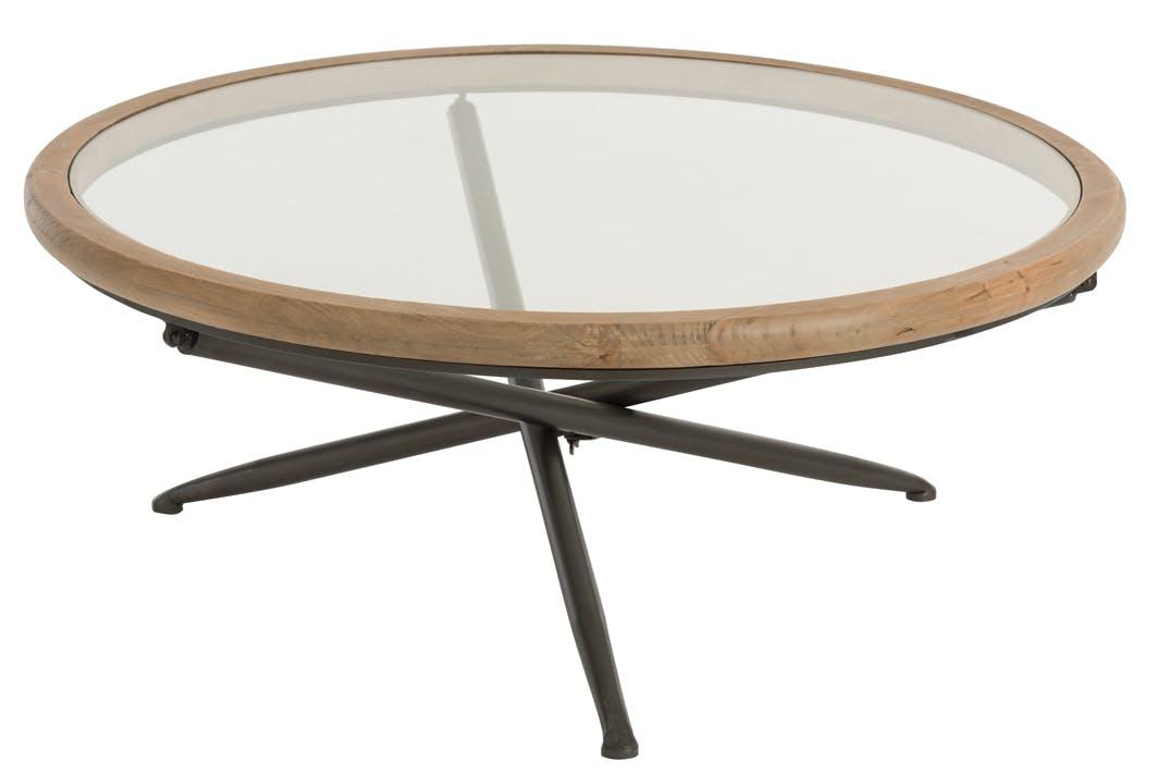 Table ronde en verre et bois marron grand modèle 100x100x40 cm ref.30022931