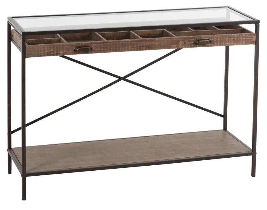 Console indus avec tiroir ouvert bois métal 122x43x 83 cm ref.30022934