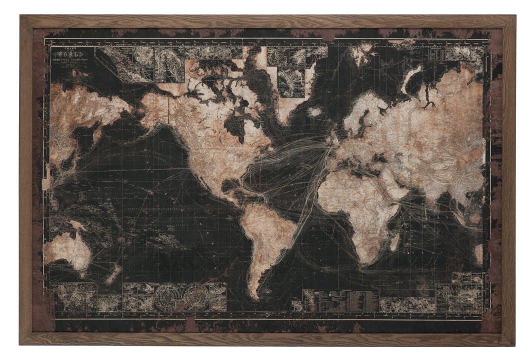 Planisphère vintage cadre bois leds 175x5x116 cm ref.30022952