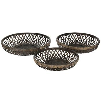 Set de 3 corbeilles bambou noir  ref.30022956
