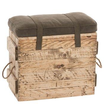 Tabouret pouf caisse et coussin kaki 55x30x52 cm ref.30022958