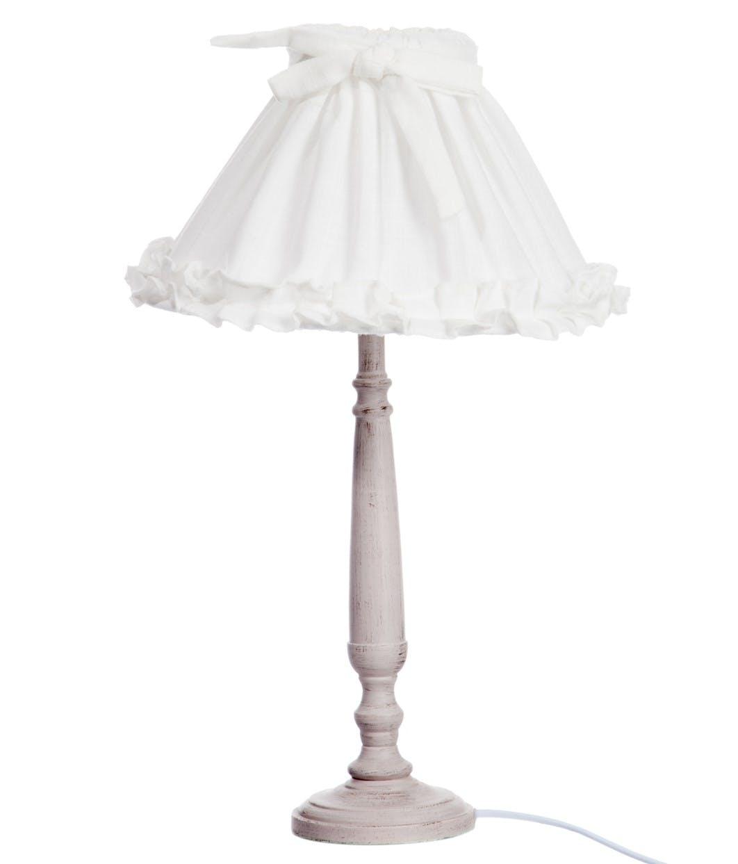 Lampe charme en bois beige et abat-jour blanc décor n?ud 21x31x50cm