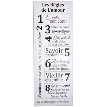 """Plaque message blanche """"les règles de l'amour"""""""