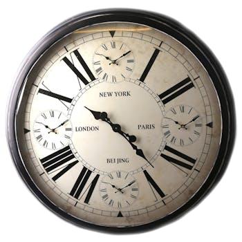 Horloge murale fuseaux horaires D 93 cm
