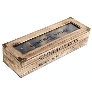 Boîte de rangement bois compartimentée 34 cm