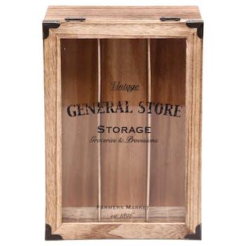 Boîte de rangement bois compartimentée 28 cm