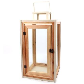 Lanterne carrée bois et métal à anse 40 cm