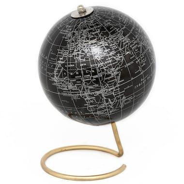 Globe terrestre noir sur pied cuivré