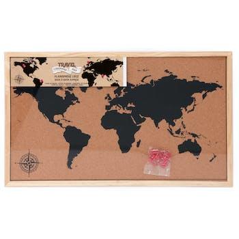 Carte du monde sur panneau en liège 40x60 cm
