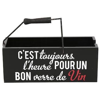 Porte bouteille slogan bois 24 cm