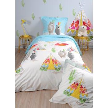 Parure de lit enfant tipi ours 140x200cm TIPI