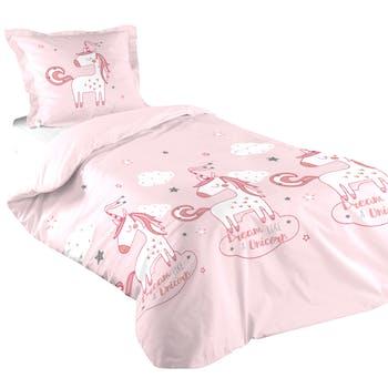 Parure de lit enfant rose 140x200cm UNICORN