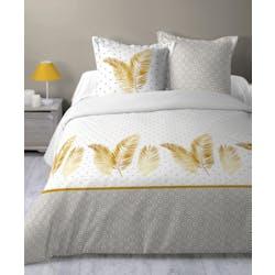 Parure de lit exotique naturel et doré 240x220cm EXOLU
