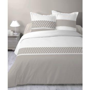Parure de lit romantique beige 260x240cm LORELINE