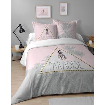 Parure de lit pastel poudré 240x220cm PARADISIA