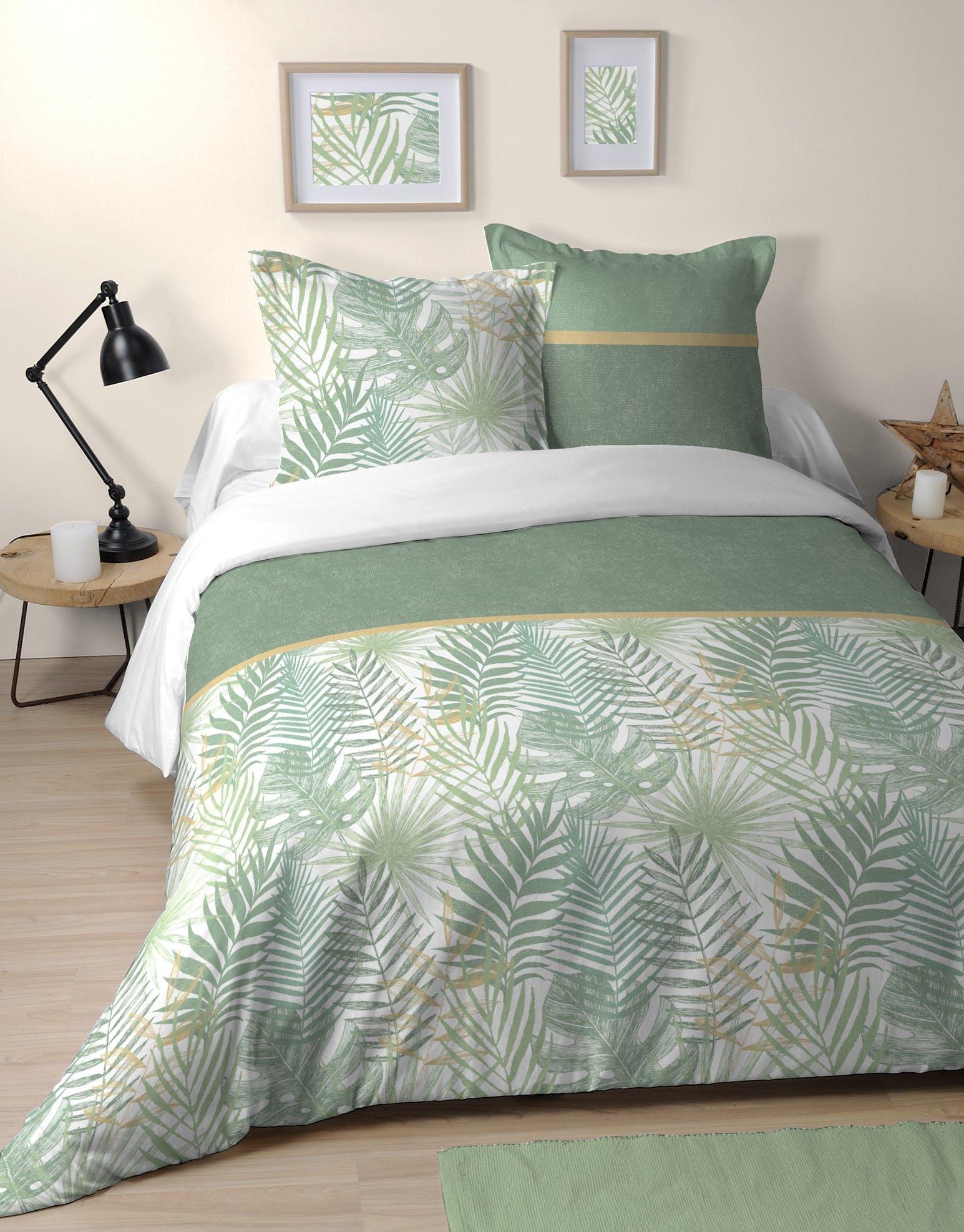 Parure de lit feuillage jungle vert 240x220cm CAMO