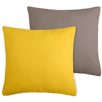 Coussin coton moutarde-taupe 50x50cm DUO