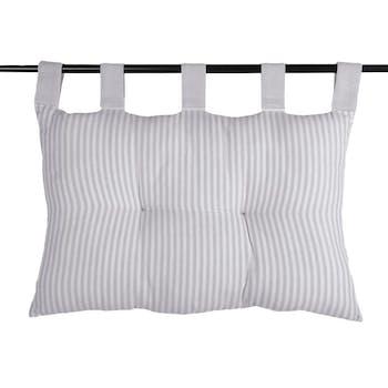 Tête de lit 100% Coton rayures Gris 45x70 ALPHONSINE