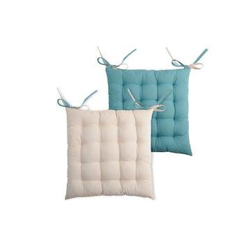 Galette de chaise carrée 40x40 100% Coton Lin-Bleu DUO