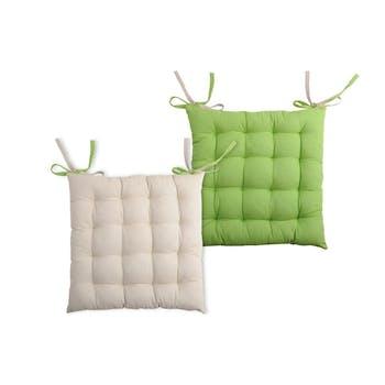 Galette de chaise carrée 40x40 100% Coton Lin-Vert DUO