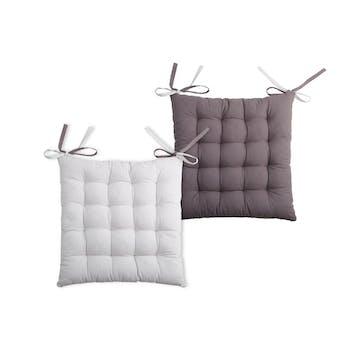 Galette de chaise carrée 40x40 100% Coton Gris-Perle DUO