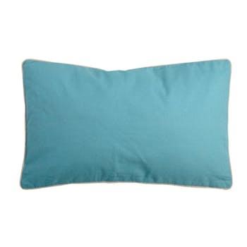Coussin rectangulaire 30x50 Lin-Bleu 100% Coton DUO