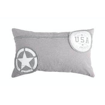 Coussin gris décor USA 30x50cm 100% coton PORTLAND