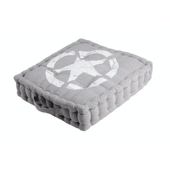 Coussin de sol gris décor USA 45x45x10cm 100% coton PORTLAND