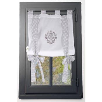 Rideau vitrage blanc romantique brodé ruban à nouer gris 45x100cm 100% coton MELINE