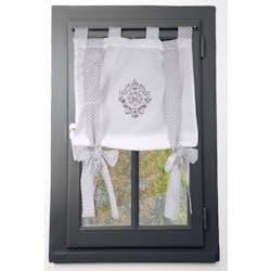 Rideau vitrage blanc romantique brodé ruban à nouer gris 60x140cm 100% coton MELINE