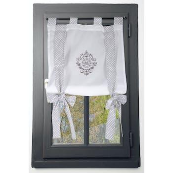 Rideau vitrage blanc romantique brodé ruban à nouer gris 80x160cm 100% coton MELINE