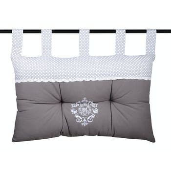 Tête de lit gris décor romantique brodé et dentelle 45x70cm 100% coton MELINE