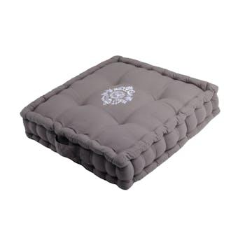 Coussin de sol gris décor romantique brodé 45x45x10cm 100% coton MELINE