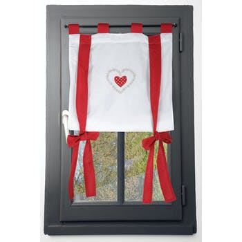 Rideau vitrage blanc romantique coeur brodé ruban à nouer rouge 80x160cm 100% coton VERONE