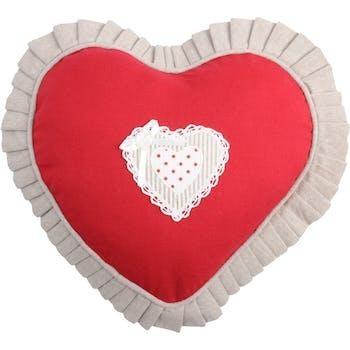 Coussin coeur rouge brodé et dentelle contour plissé beige 30cm VERONE ROUGE