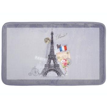 Tapis de sol gris touché doux décor Tour Eiffel romantique 45x75cm METROPOLE