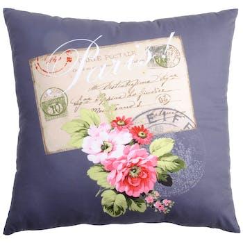 Coussin romantique couleur taupe décor carte postale fleurie 40x40cm METROPOLE