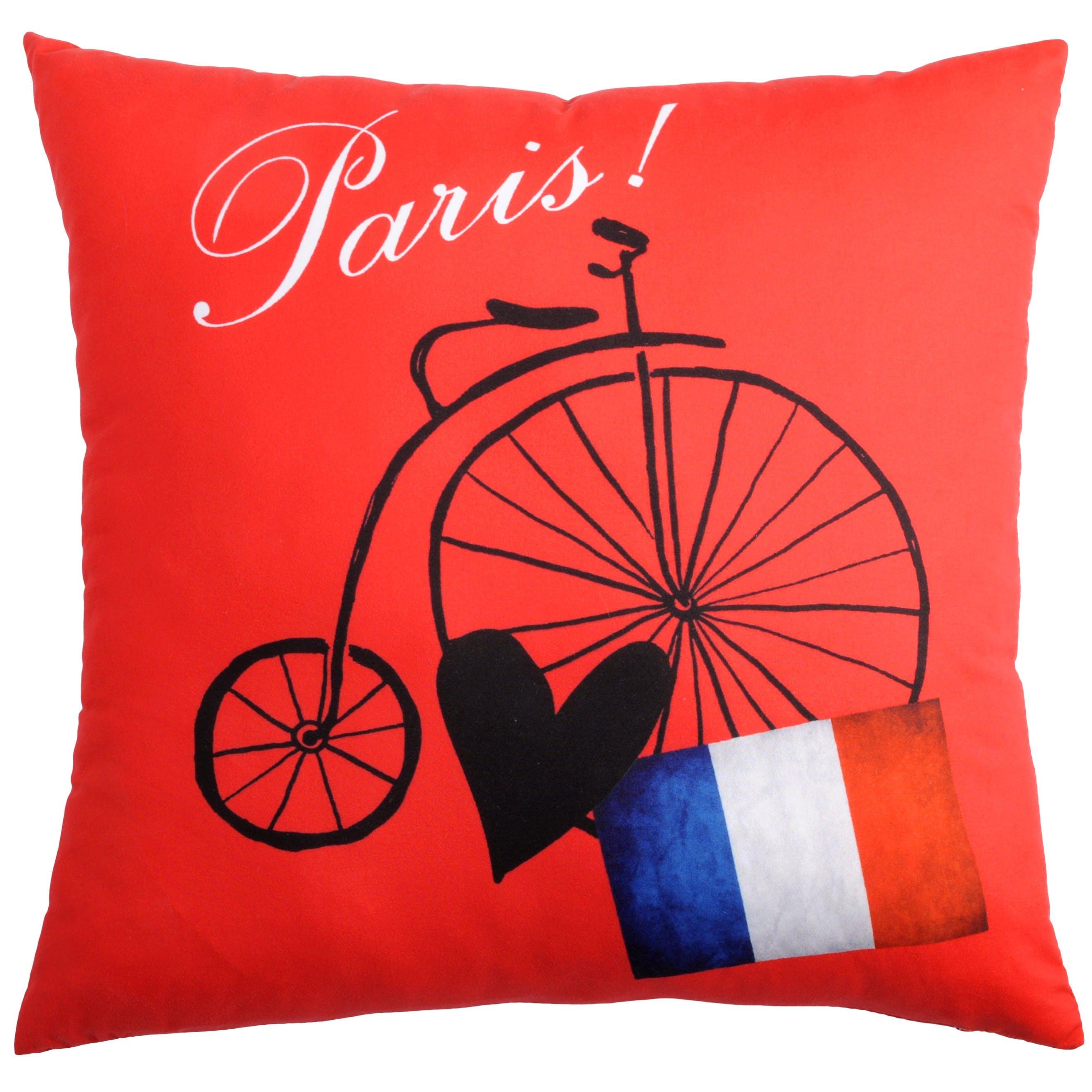 Coussin romantique rouge décor grand BI Paris 40x40cm METROPOLE