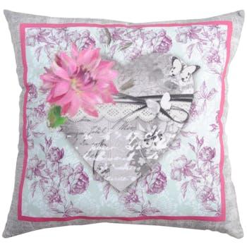Coussin romantique gris rose coeur central décor fleur caligraphie 40x40cm SEDUCCION