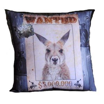 Coussin humour Wanted Kangourou 40x40cm WANTED