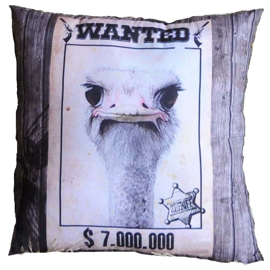 Coussin humour Wanted Autruche 40x40cm WANTED