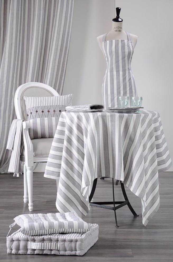 Nappe carrée rayée gris / blanc 150x150cm 100% coton ALPHONSINE