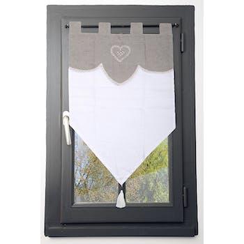 Brise bise couleur lin romantique coeur brodé dentelle et pompom 60x90cm 100% coton VERONE