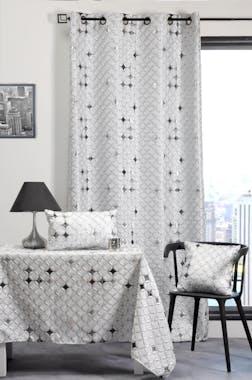 Rideau gris jacquard motif piqué décor ronds en rosaces avec strasses 135x260cm à oeillets DIAMS
