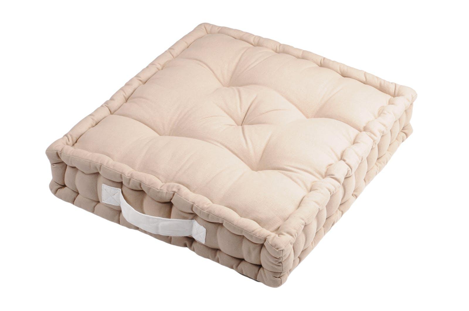 Coussin de sol couleur lin poignée blanche 45x45x10cm 100% coton DUO