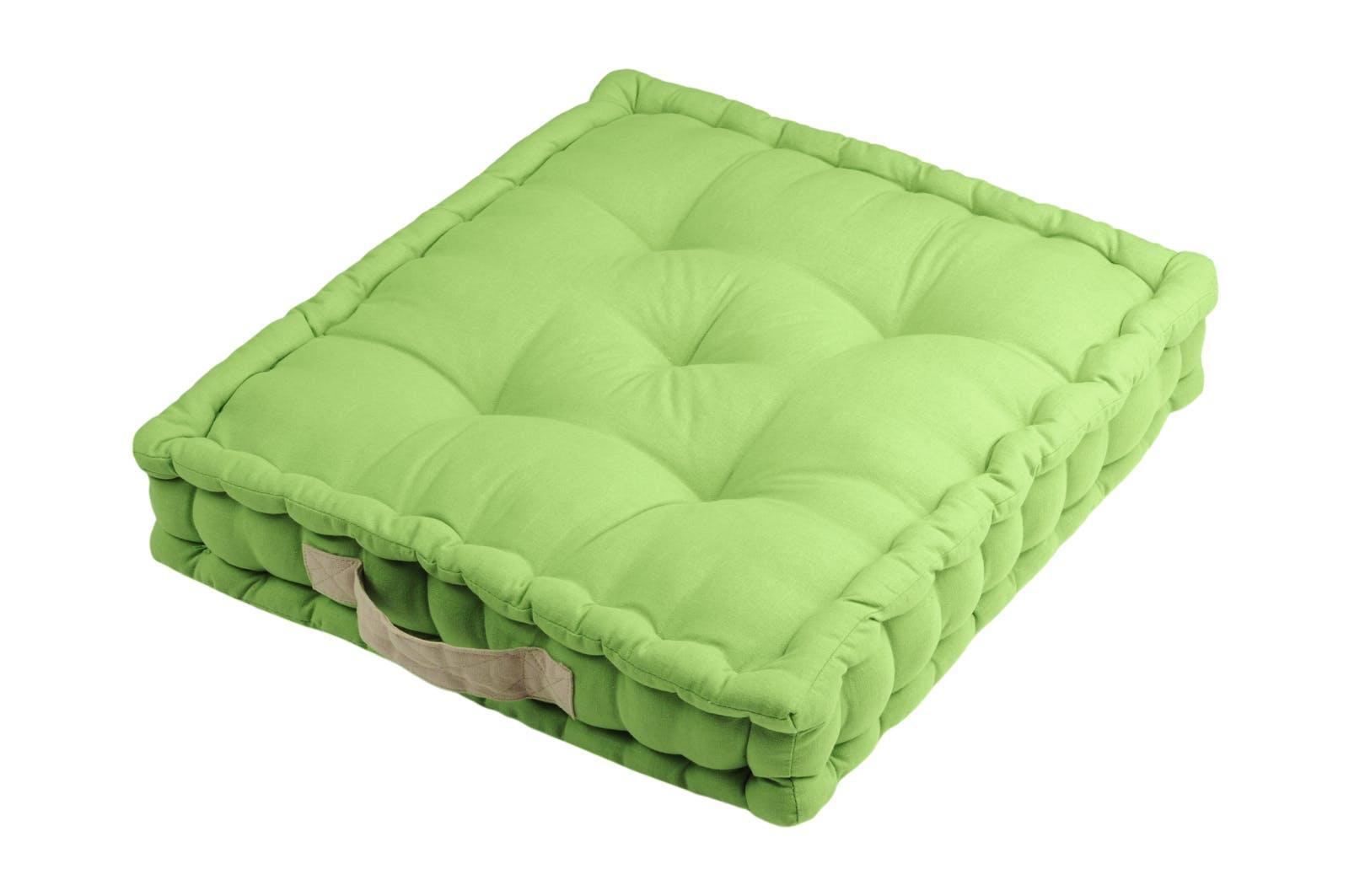 Coussin de sol vert poignée couleur lin 45x45x10cm 100% coton DUO